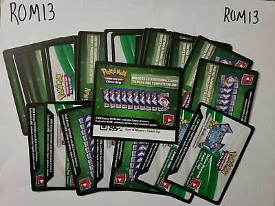 15 SUN AND MOON TEAM UP: POKEMON TCG ONLINE CARDS CODES (Emailed)- ROM13-2abc