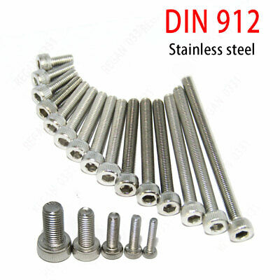 M2 M2.5 M3 M4 M5 304 Stainless Steel Hex Socket Cap Head Screw Bolt DIN912