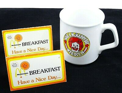 Vintage McDonalds Coffee Mug Cup McHappy Day w 2 Breakfast Coupons Voucher 1990s