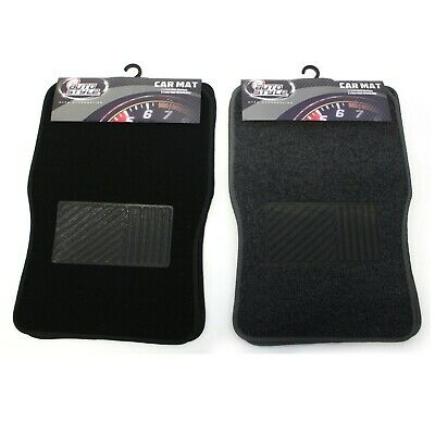 4x Carpet Car Mats Rugged Floor Front Rear Charcoal Black Universal Fit Textile