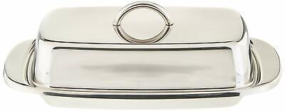 Norpro Stainless Steel Double Covered Butter Dish,Silver,1 Pack,Stainless Steel.