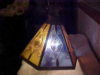 Gold Gilt Colored Cut Stained Glass Lantern Chandelier Ceiling Light Fixture