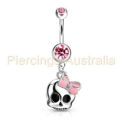 Bow Skull Belly Button Dangle Navel Bar Ring Barbell Body Piercing Jewellery