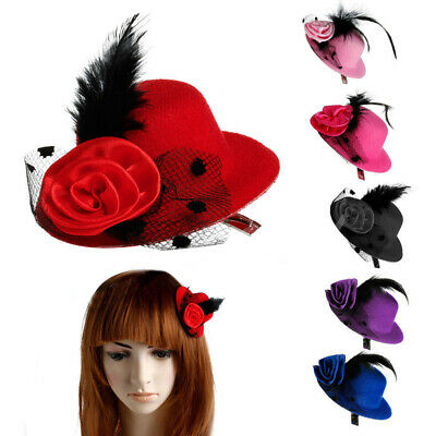Girls Mini Feather Rose Top Hat Cap Lace fascinator Hair Clip Costume Accessory