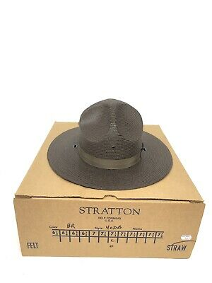 f59a68ee Stratton Law Officer Brown Straw Hat Size 7 1/4 New in Box State Trooper