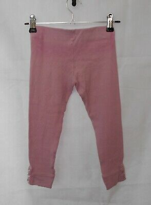 Fun Spirit Girl's Baby Pink Leggings Stretch Ribbed Fabric Buttons on Hems Sz 3