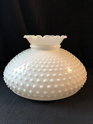 """Large Hobnail White Milk Glass Hurricane Replacement Lamp Shade--12"""" fitter"""