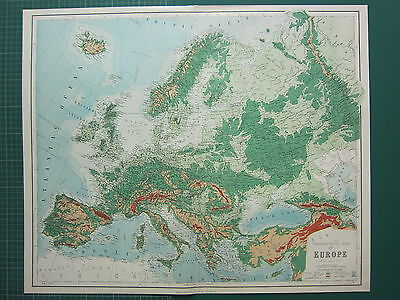 1902 Large Antique Map Orographical Europe Land Heights Austria Hungary Germany