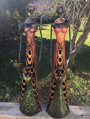 2 Tall 55cm Metal Art Scultures Statues African Woman & Child Mother
