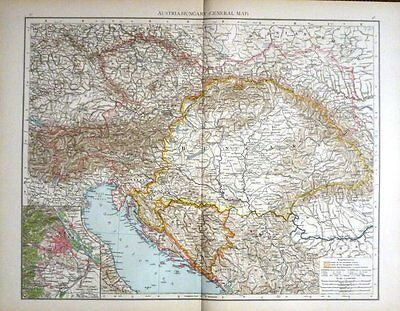 1895 Large Victorian Map ~ Austria Hungary General Map ~ Vienna & Environs