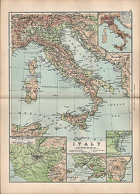 1895 Victorian Map ~ Italy ~ Rome & Campagna Naples Venice Etna Population