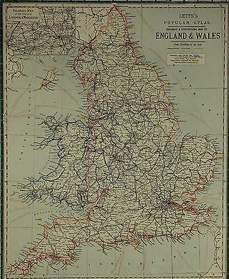 1883 Letts Map ~ England & Wales Inset Liverpool Manchester ~ Lighthouses