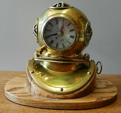 "Antique Brass Decorative Divers Helmet AITG Clock on wood 10"" base"
