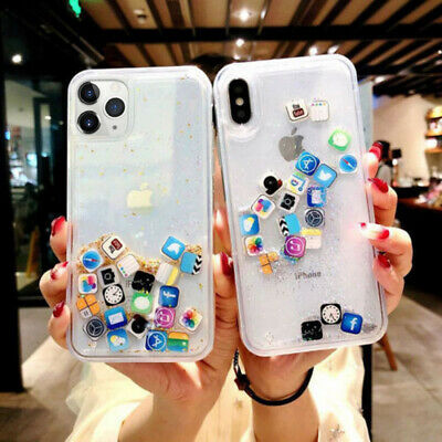 App Icon Dynamic Liquid Glitter Quicksand Case Cover For iPhone XS Max Xr 8 Plus