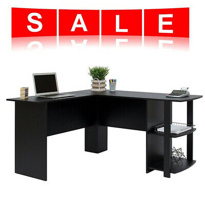 L-Shaped Office Computer Desk, Large Corner PC Table with 2 Shelves UK Sellef