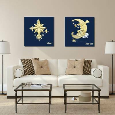 Sun Moon Star Canvas Wall Art Painting Printed Picture Home Office Decoration