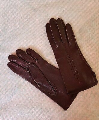 Vintage Retro 'Eleganta' Black Colour Leather Gloves Size 6.5 Small