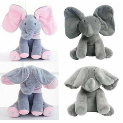 UK Baby Kids Peek-a-boo Singing Elephant Branded Toy Plush Music Animated Soft C