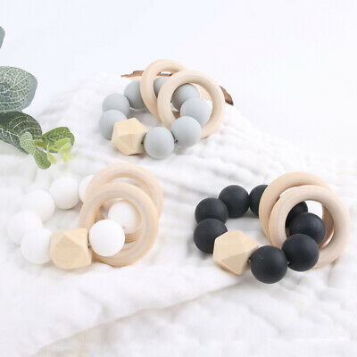 Wooden Hexagon Beads Ring Rattles Toys Silicone Beads Teether Teething Bracelet