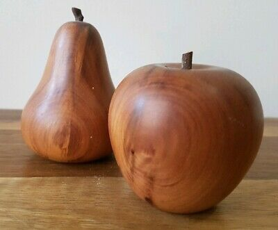 Collectable Wooden Carved Apple & Pear Salt & Pepper Shakers Fruit Wood