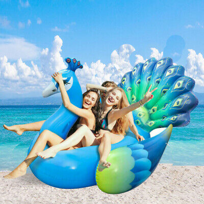 "IBASETOY 79"" Giant Peacock Shaped Inflatable Swim Ring Pool Float Raft Beach"