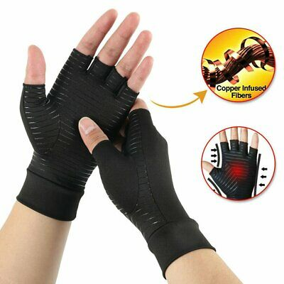 Pair Copper Anti Arthritis Gloves Hand Support Pain Relief Finger Compression MN