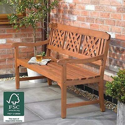 Garden Bench 3 Seater Fence With Diagonal Slotted Back Design Patio Seat