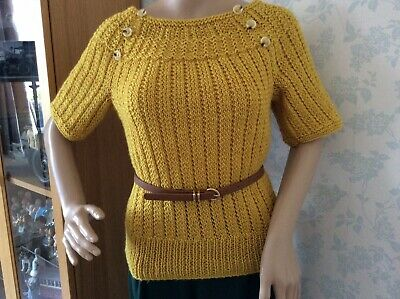 Lady's Handknitted 1940s/1950s Vintage Style Jumper -  Belt Included - 34/36""