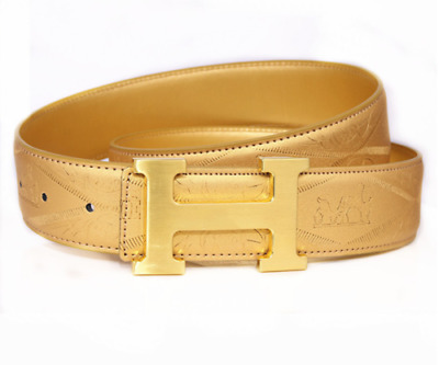 2019 new fashion luxury street classic men and women gold belt gold buckle