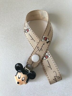 Mickey Mouse Classic Dummy Soother  Pacifier Clip  ~ NEW ~ No Beads ~ Coffee ~