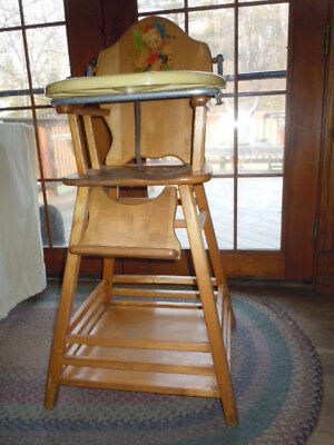 Vintage 1950's Thayer Wood High Chair with Plastic Tray