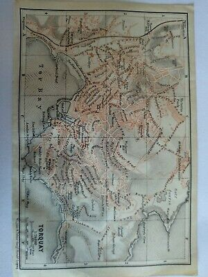 Original Vintage Map Torquay Excellent Condition Used in Colour 1910
