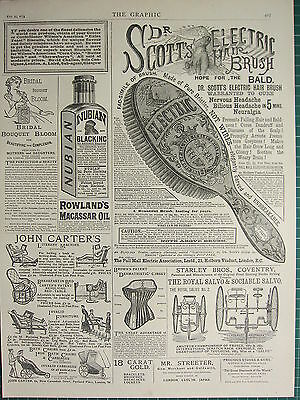 1883 Victorian Print ~ Adverts ~ Dr Scotts Electric Hairbrush Corsets Rowlands