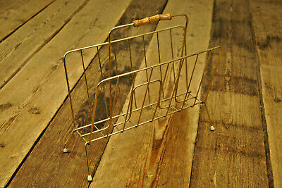 1950s Magazine Rack Magazines Records Tray Stand Brass Vintage