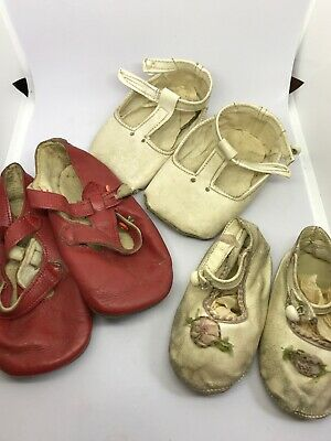 Vintage antique baby leather shoes X3