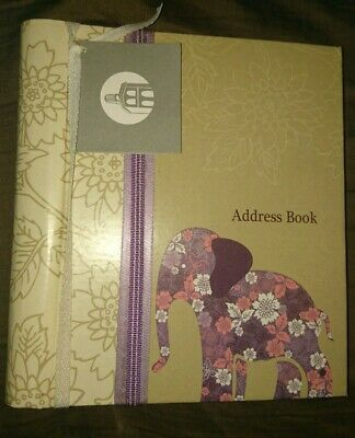 PEPPER POT FLORAL ELEPHANT Address Book A-Z Spiral with birthday & notes section