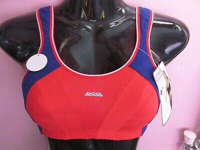 df291f9bfd05 Bnwt Shock Absorber Unpadded Nonwired Blue/Red Running Sports Bra Size 28Dd