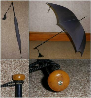 Vintage Ladies Navy Umbrella By Gauntlet - Amber & Semi Precious Stone Top