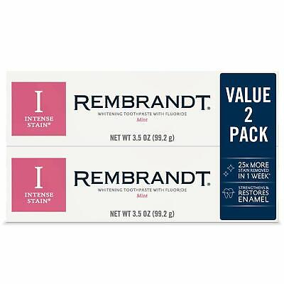 2 Pack Rembrandt Intense Stain Whitening Toothpaste Mint Flavor 3.52 Ounce