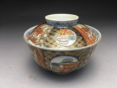 Antique Japanese Imari Hand Painted Porcelain Rice Bowl With Lid