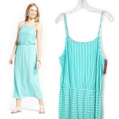 b61a988dd3 Merona | Women Size XL 16 Spaghetti Strap Maxi Dress Blue White Striped  Blouson