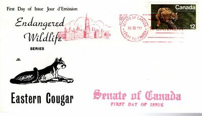 1977 Endangered #732 Eastern Cougar FDC with NR Covers cachet Senate Of Canada