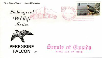 1977 Endangered #752 Peregrine Falcon FDC with NR Covers cachet Senate Of Canada