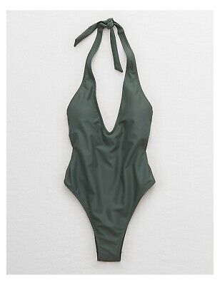 8020d743714 NWT WOMEN'S AERIE One Piece Soft Green Ribbed Swimsuit Size Small ...