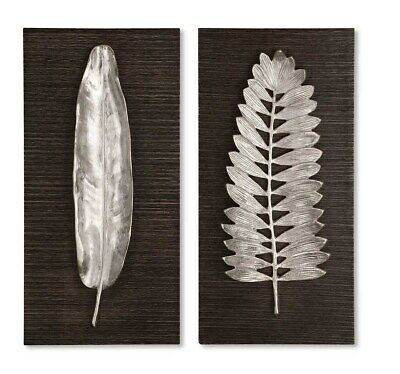 Two Modern Decor Xxl 24 Brushed Silver Aluminum Leaves Leaves Plaques Wall Art