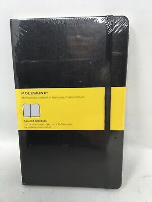 New Moleskine Classic Notebook Squared  Black  Hard Cover 5 x 8.25 Hemingway....