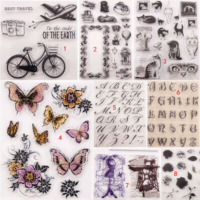 Butterfly Cat Transparent Silicone Clear Stamps DIY Scrapbook Embossing Flower