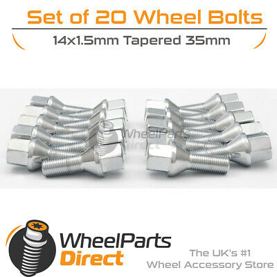Alloy Wheel Bolts (20) 14x1.5 Tapered 35mm For VW Transporter T4 90-04