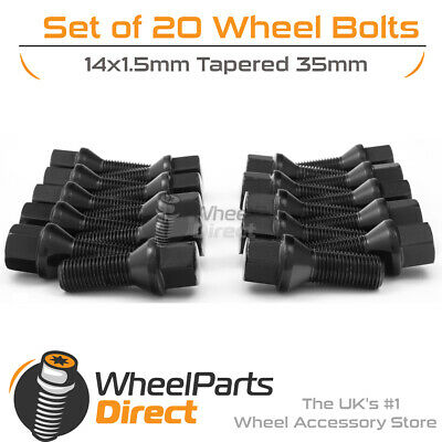 Black Alloy Wheel Bolts (20) 14x1.5 Tapered 35mm For Audi TT Mk1 [8N] 98-06