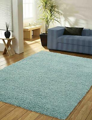 Duck Egg Blue Shaggy Rug Fluffy Thick Soft Non Shed Plain Living Room Rug S-XL